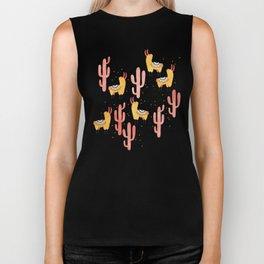Yellow Llamas Red Cacti Biker Tank