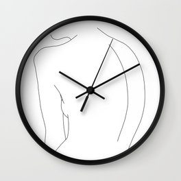 Minimal line drawing of women's body - Alex Wall Clock