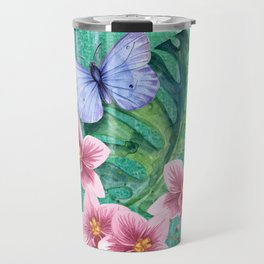 Butterfly with Orchids and Monstera Travel Mug
