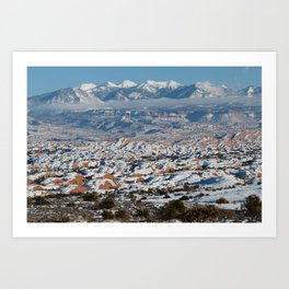 Snowy La Sal Mountains from Arches National Park Art Print