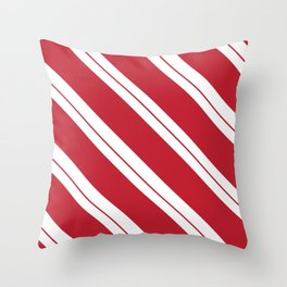 Tilted Classic Red Candy Cane Throw Pillow