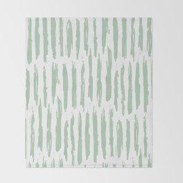 Vertical Dash Stripes Pastel Cactus Green on White Throw Blanket