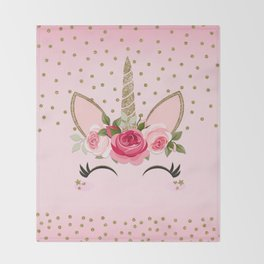 Pink & Gold Floral Unicorn Face Throw Blanket