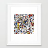 paris Framed Art Prints featuring Paris by Mondrian Maps