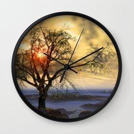 Tree in November sun Wall Clock