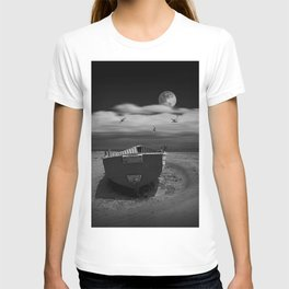 Row Boat on a Sandy Beach in Biscayne Bay Florida T-shirt