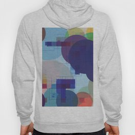 geometric square pixel pattern abstract and circle pattern in blue red green yellow Hoody