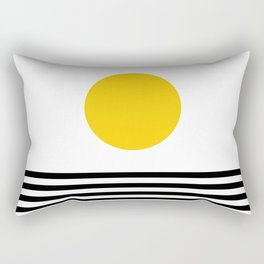 Midcentury Yellow Minimalist Sunset With Black Stripes Rectangular Pillow
