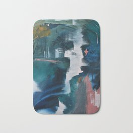Exhilarated: a vibrant, abstract, mixed-media piece in greens and pinks by Alyssa Hamilton Art  Bath Mat