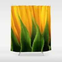 sunflower Shower Curtains featuring Sunflower  by TDSWHITE