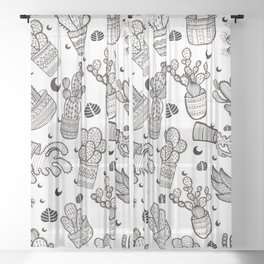 Black & White Cactus Pattern Sheer Curtain
