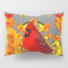 BUTTERFLIES  RED CARDINAL YELLOW SUNFLOWERS Pillow Sham