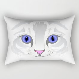 Cute white tabby cat face close up illustration Rectangular Pillow
