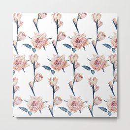 Elegant Girly Blush Pink Blue Painted Roses Metal Print