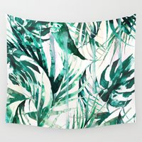 paradise Wall Tapestries featuring Green Tropical paradise  by Nikkistrange