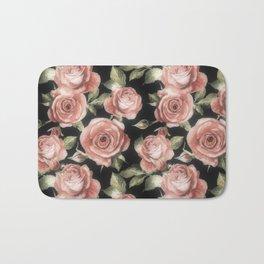Classic Pink Roses On Black Bath Mat
