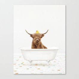 Highland Cow with Rubber Ducky in Vintage Bathtub Canvas Print