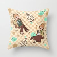 bioshock infinite Throw Pillows featuring Bioshock Infinite - Luctece Twins by Choco-Minto