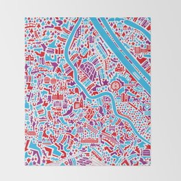 Vienna City Map Poster Throw Blanket
