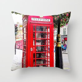 London England - Red Telephone Booth - Telephone Box Throw Pillow