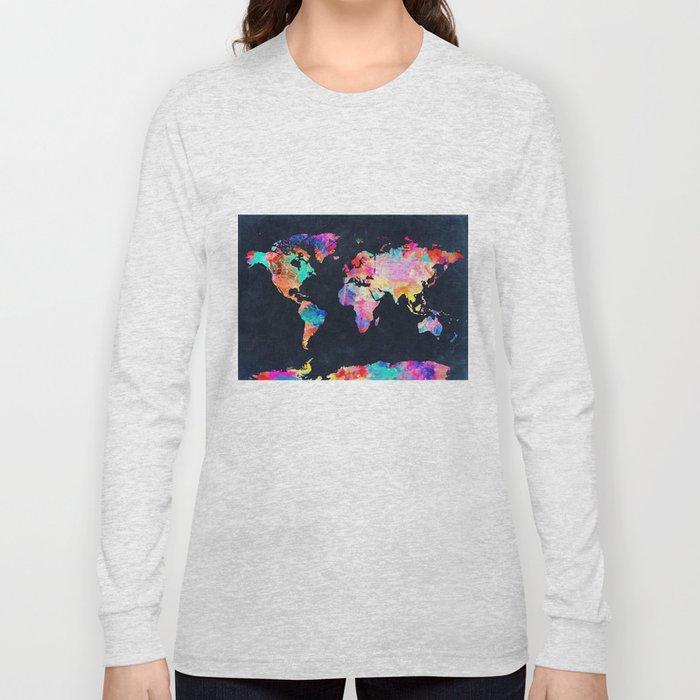 World Map Long Sleeve T Shirt By Bekimart Society6