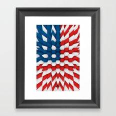 3D Poly Usa Flag Framed Art Print