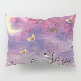 chickadees and io moths in the moonlit sky Pillow Sham