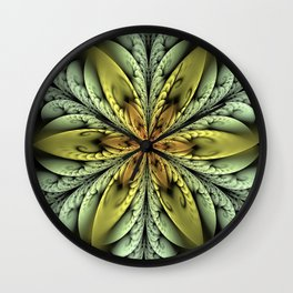 Golden flower with mint swirls Wall Clock