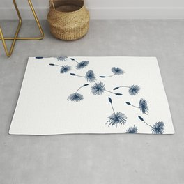 Wispy Blue Dandelion Seeds Blowing in the Breeze Rug