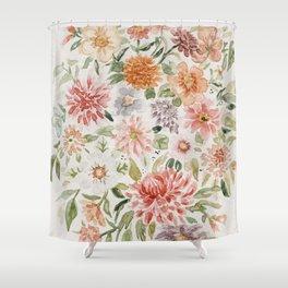 Loose Pastel Dahlia Watercolor Bouquet Shower Curtain