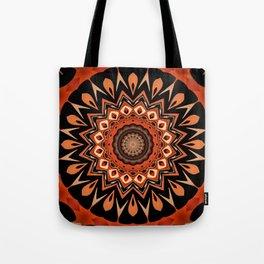 Boho Chic Rustic Orange Mandala Tote Bag