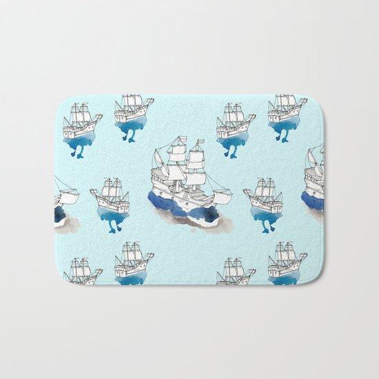 Ships Pattern Bath Mat