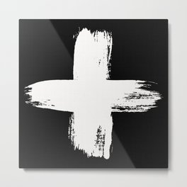 Large Swiss Cross White Brush Metal Print