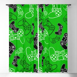 Video Games Green Blackout Curtain