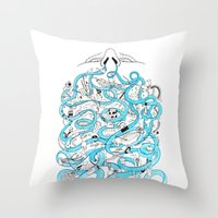 zappa Throw Pillows featuring Creation of the World by Nika Belova