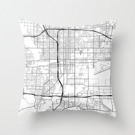 San Bernardino Map, USA - Black and White Throw Pillow