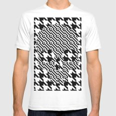 HOUNDSTOOTH SKULL #3 White MEDIUM Mens Fitted Tee