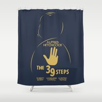 hitchcock Shower Curtains featuring The 39 Steps - Alfred Hitchcock Movie Poster by Stefanoreves