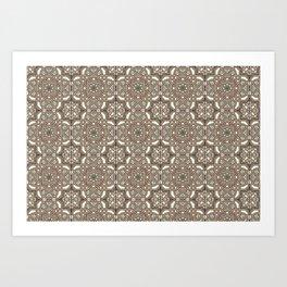 Ornamental Scroll Pattern Earthen Trail, Melon Green, Dover White & Ever Classic Gray Art Print