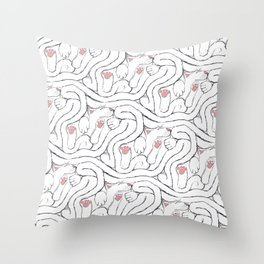 Decker Sleeps, a cat tessellation Throw Pillow