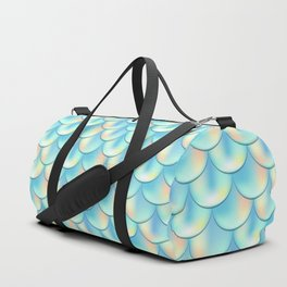 Teal Green Mermaid Pattern, Holographic Fish Scale Print Duffle Bag