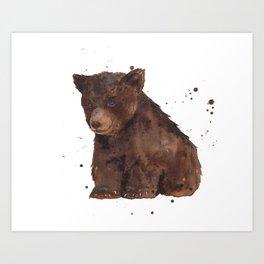Cute Baby Bear, teddy bear, teddy, bear cub, brown bear, nursery art, woodland, bear painting Art Print