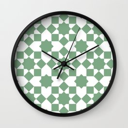 Islamic style geometrics sage green pattern Wall Clock