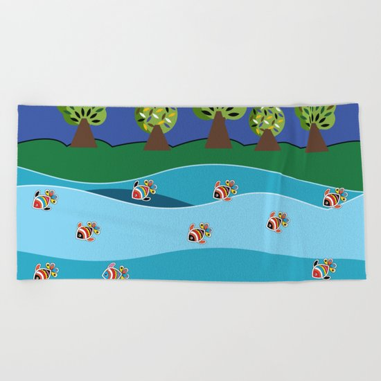river and fish Beach Towel