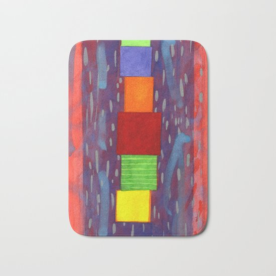 Colorful piled Cubes within free Painting Bath Mat