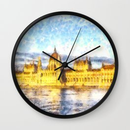 Budapest River Danube Sunset Art Wall Clock
