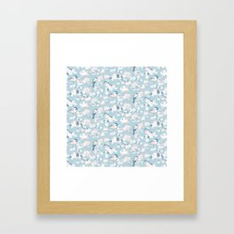 Blossom and Birds Blue Grey and Pale Coral Framed Art Print