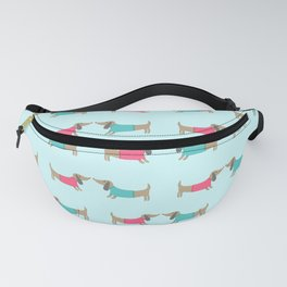 Cute dog lovers in mint background Fanny Pack