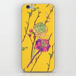 oriental flower stripe yellow iPhone Skin