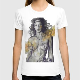 Colony Collapse Disorder: Gold (nude warrior woman with autumn leaves) T-shirt